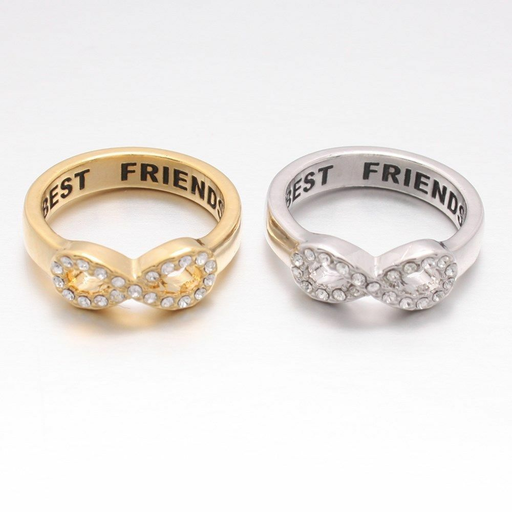Women Crystals Band Ring Best Friends Engraved Friendship