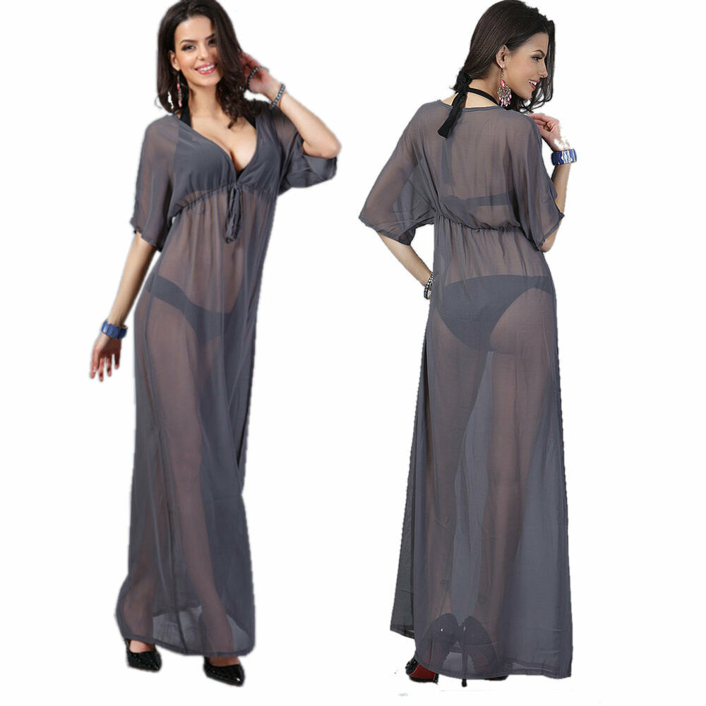 Women chiffon Beach Bikini Swimwear Cover Up Wrap Dress ...