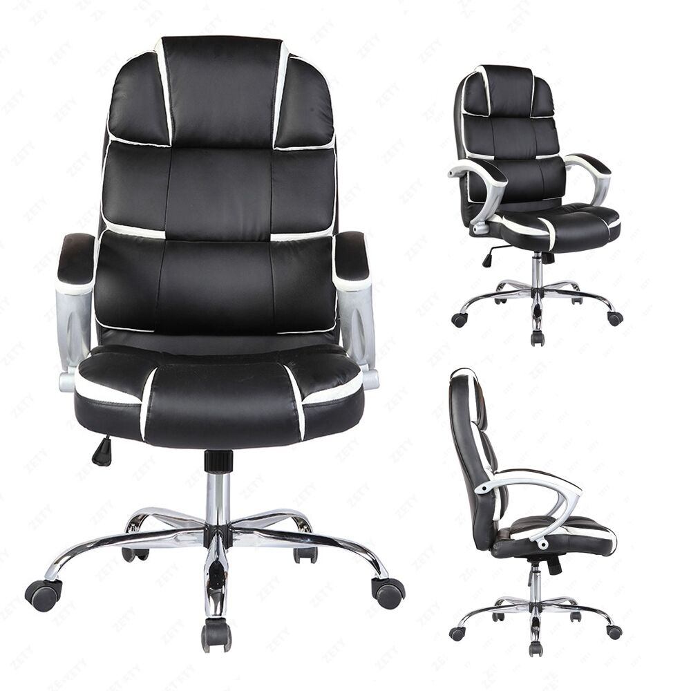Black Executive High Back Office Chair PU Leather Computer Desk Task Ergonomi
