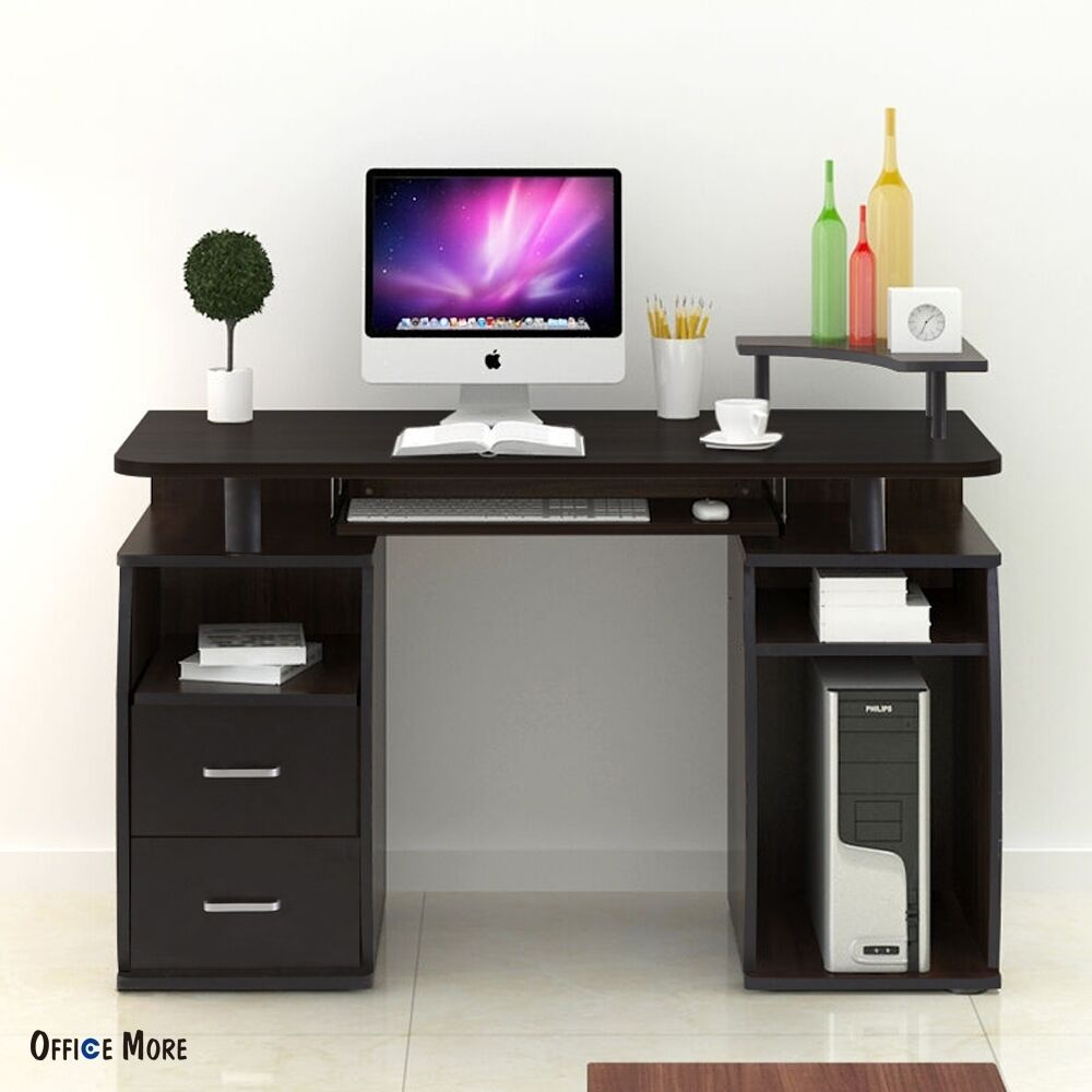pc computer desk table workstation monitor printer shelf furniture home office ebay. Black Bedroom Furniture Sets. Home Design Ideas