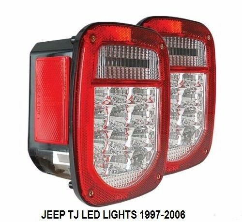 jeep tj cj yj wrangler led tail light clear lens and red. Black Bedroom Furniture Sets. Home Design Ideas