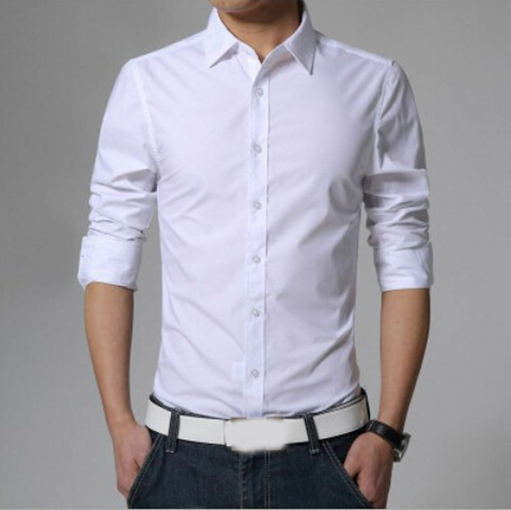 Stylish mens casual button down slim fit long sleeve for Slim fit mens shirts casual