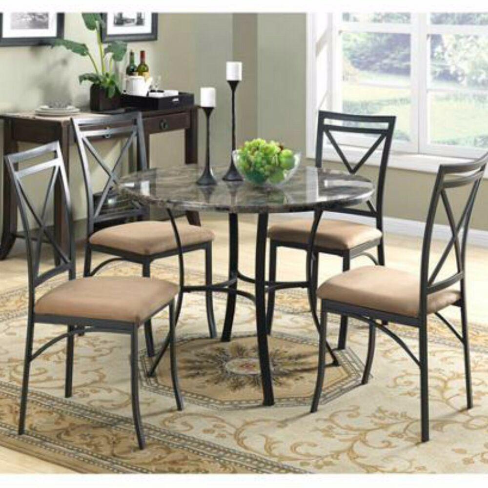 dining set table chairs round marble top 5 piece metal room kitchen