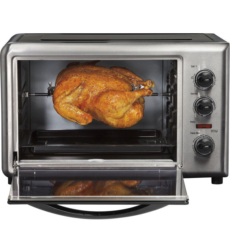 hamilton beach countertop convection toaster oven w rotating rotisserie broil ebay. Black Bedroom Furniture Sets. Home Design Ideas
