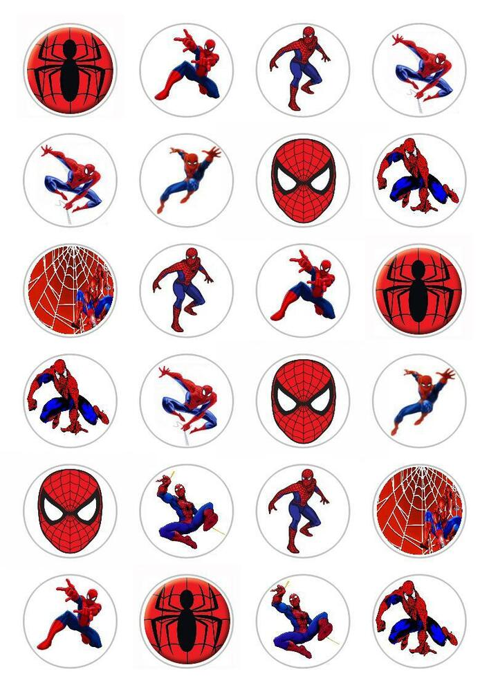 24 Spider Man Cupcake Fairy Cake Toppers Edible ...