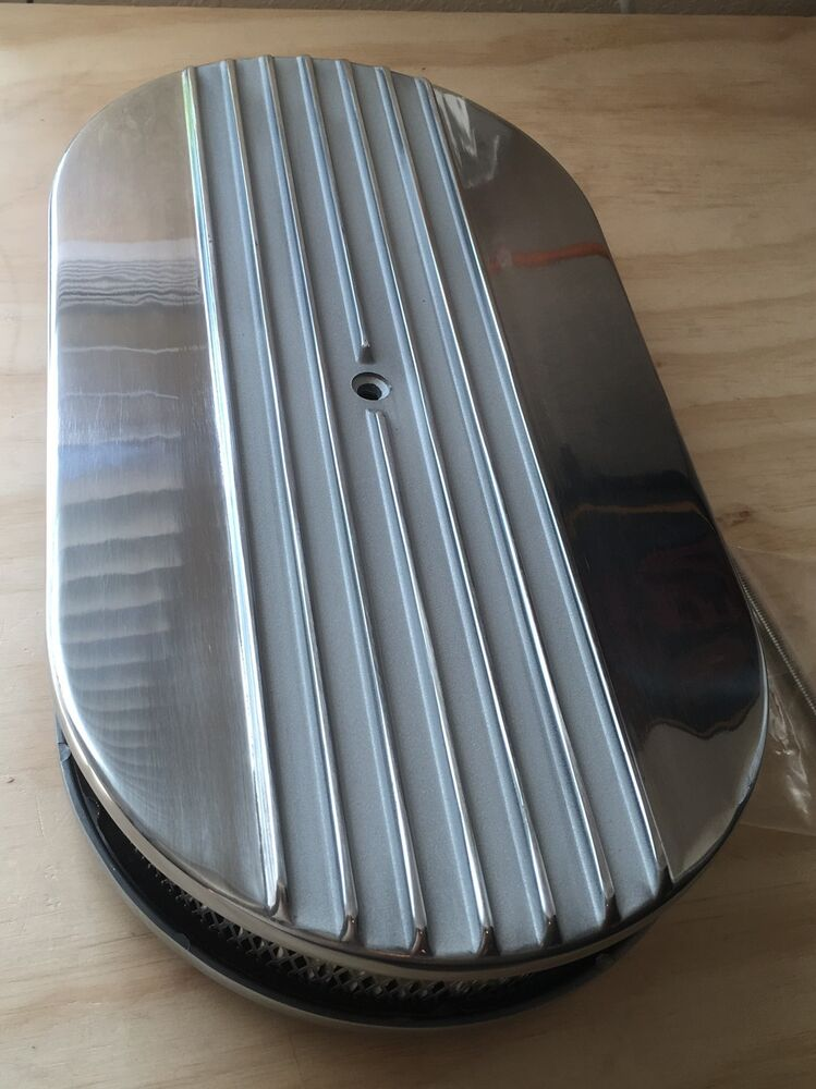 Street Rod Air Cleaners : Quot half finned billet polished air cleaner retro