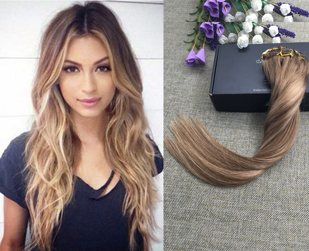 Extra Thick Balayage Ombre Clip In Remy Human Hair