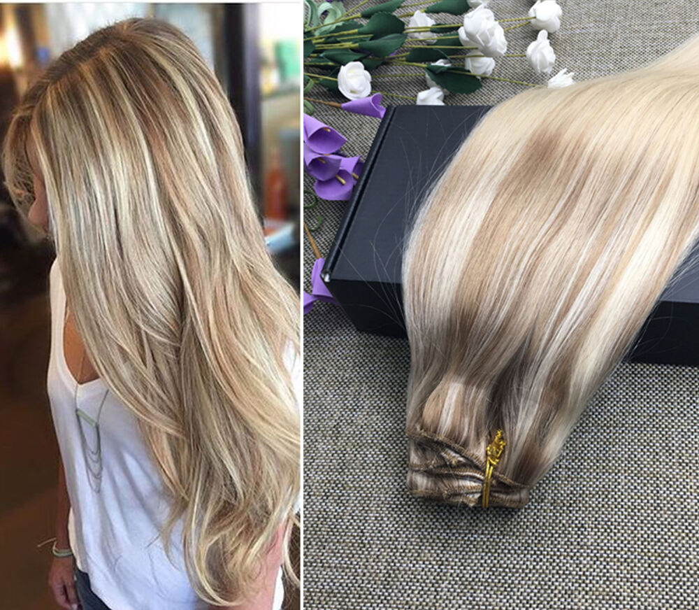 22 Quot Thick Dip Dye Balayage Ombre Clip In Remy Human Hair