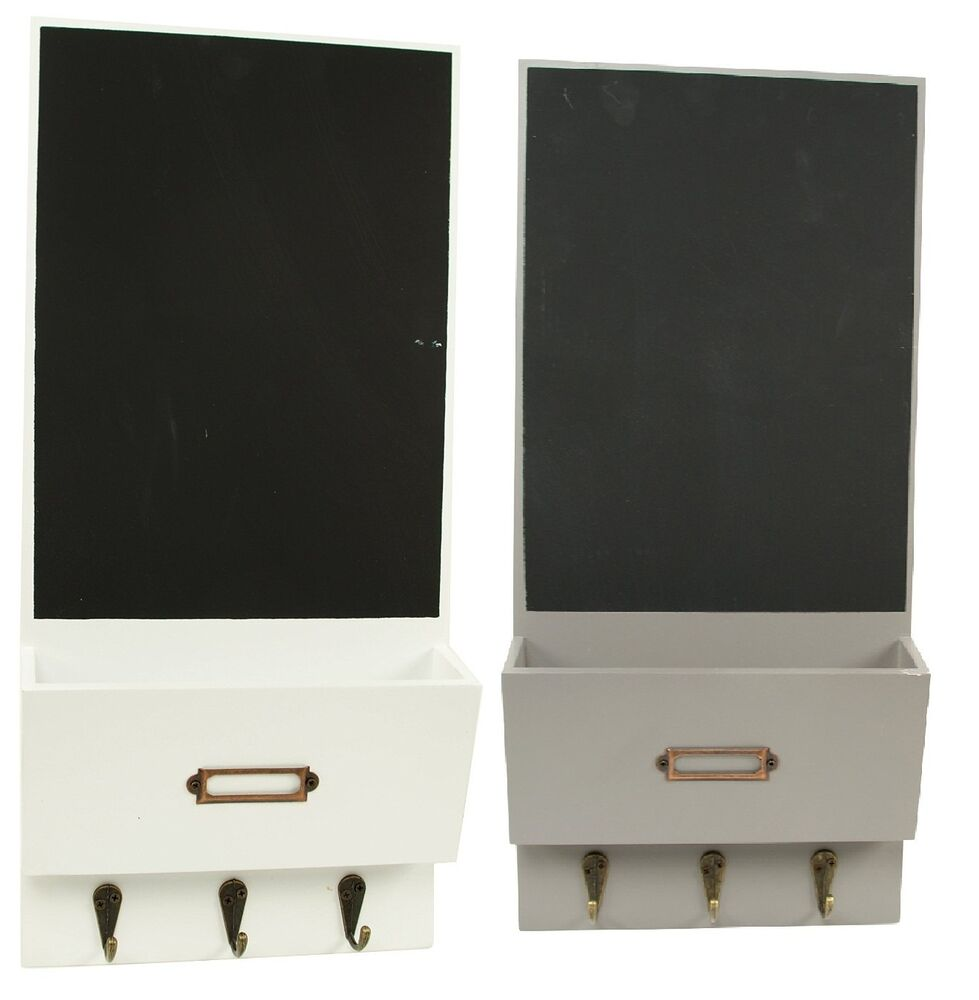 Letter Rack With Chalkboard & 3 key Hooks Organizer Wall ...