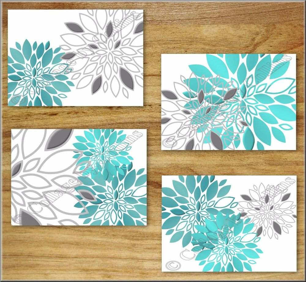 Teal turquoise gray wall art prints decor floral flower dahlia kitchen
