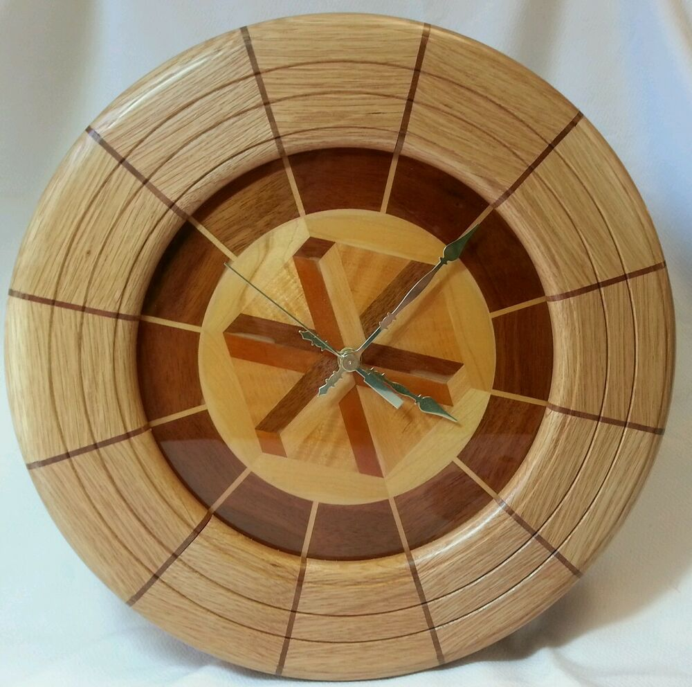 handmade wooden clocks large wooden clock beautiful inlaid design handmade ebay 2817