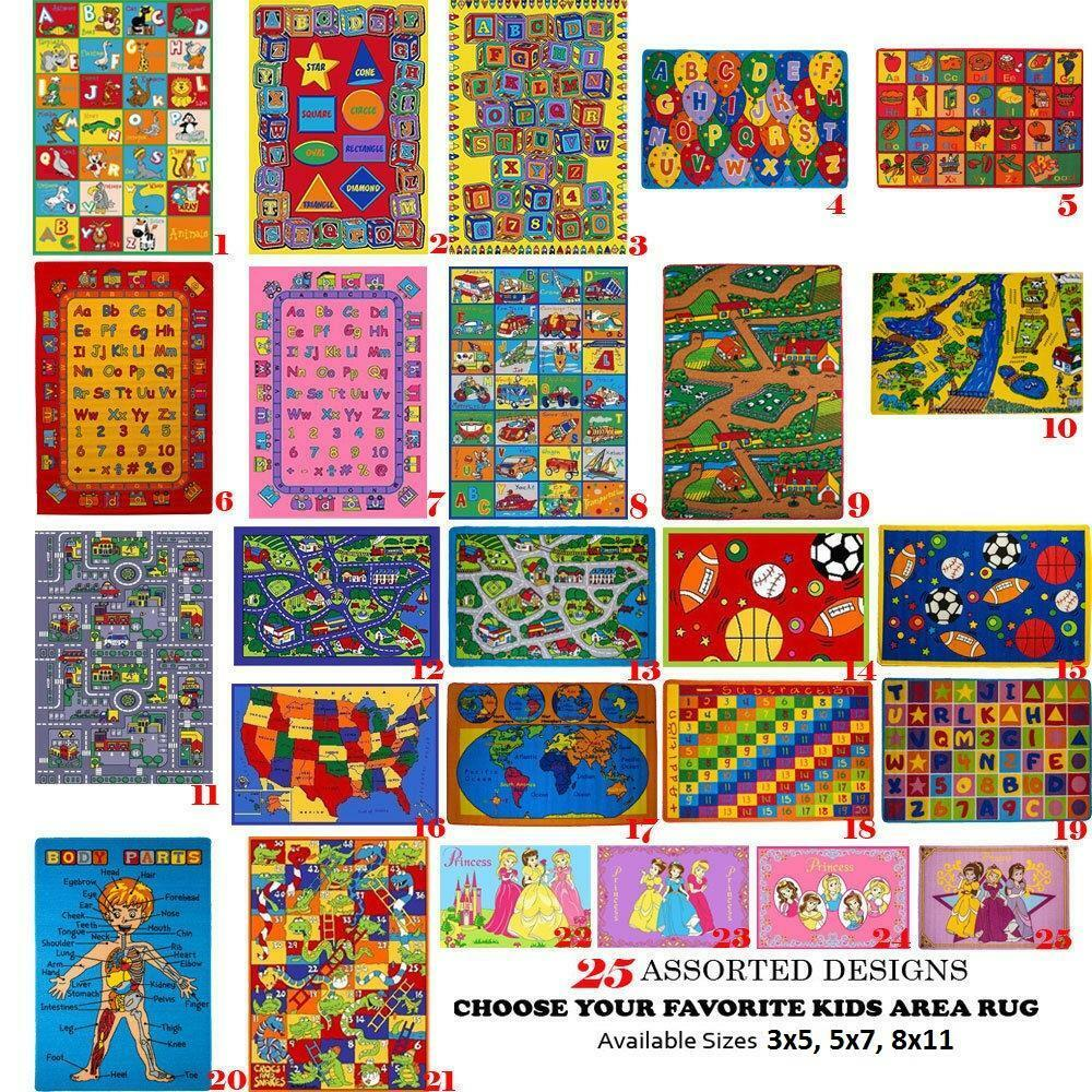 Kids Childrenu0027s Classroom School Educational ~Area Rugs~ Non Skid Gel Rug  ABC