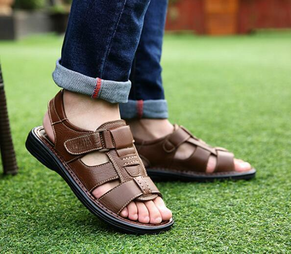 Mens Outwear Sports Sandals Leather Shoes Closed Toe Open
