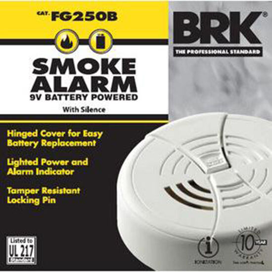 brk first alert smoke alarm 9v battery operated included fg250b ebay. Black Bedroom Furniture Sets. Home Design Ideas