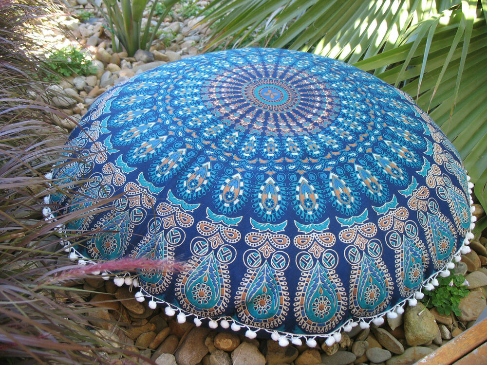 Indian Peacock Mandala Design Large Floor Cushion Cover Pom Poms Blue Boho 32