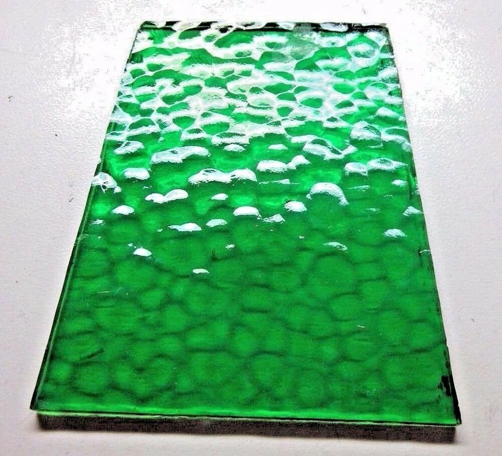 1 swag lamp flat bubbly clear slag glass in lead trapezoid panel green 3 1 2 ebay. Black Bedroom Furniture Sets. Home Design Ideas