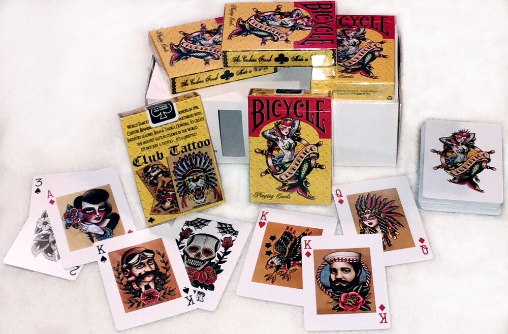 Club tattoo bicycle mermaid playing cards newest version for Bicycle club tattoo deck