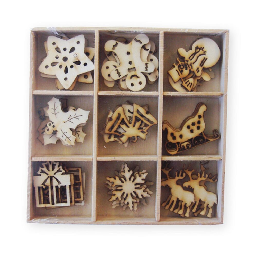 Box of 45 assorted mini wooden christmas shapes craft for Crafts that sell on ebay