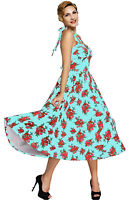 Vintage 50s Retro Rose Floral Halter Light Blue Rockabilly Summer Swing Dress