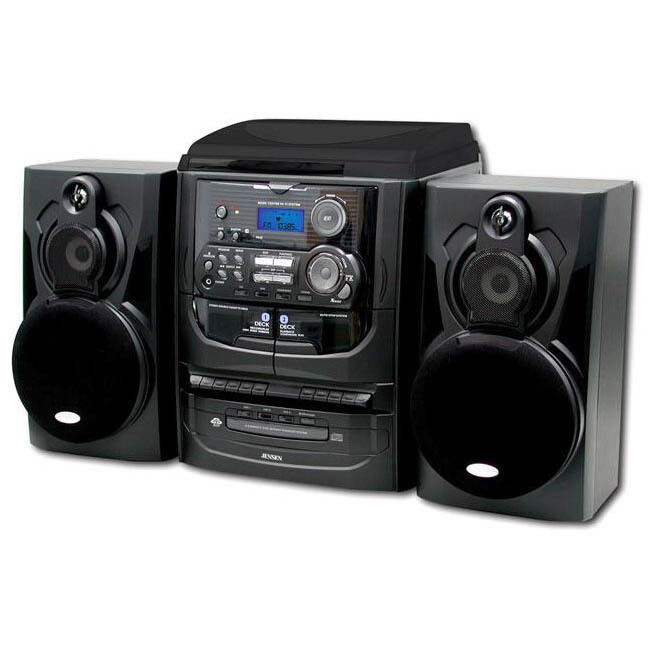 jensen shelf stereo system with record player 3 cd. Black Bedroom Furniture Sets. Home Design Ideas