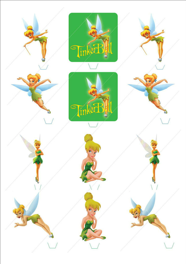 Novelty Tinkerbell Fairy Mix Edible Cake Cupcake Toppers ...