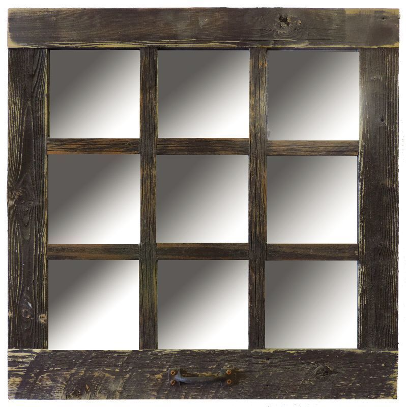 New rustic farmhouse barn wood antique style 9 pane window for Window design mirror