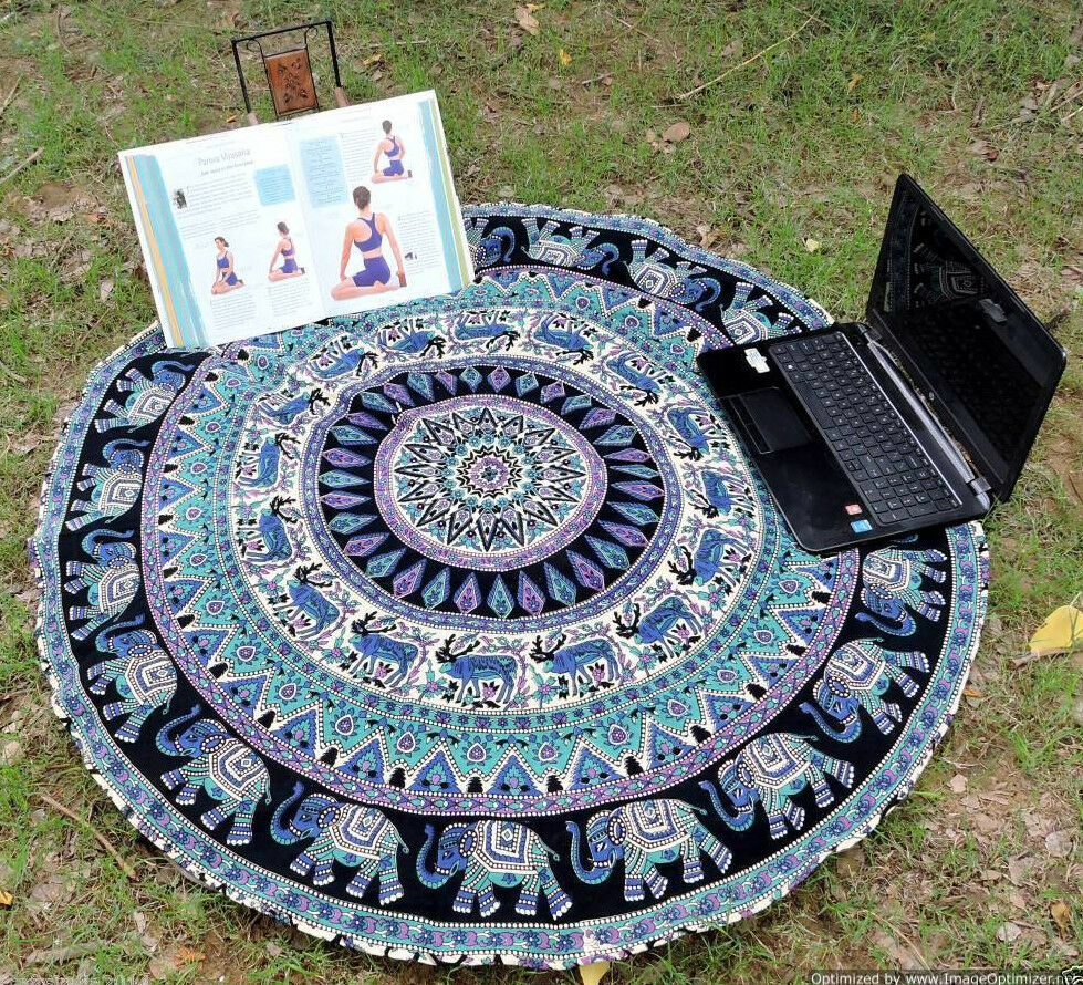 Round Mandala Indian Bohemian Elephant Tapestry Beach