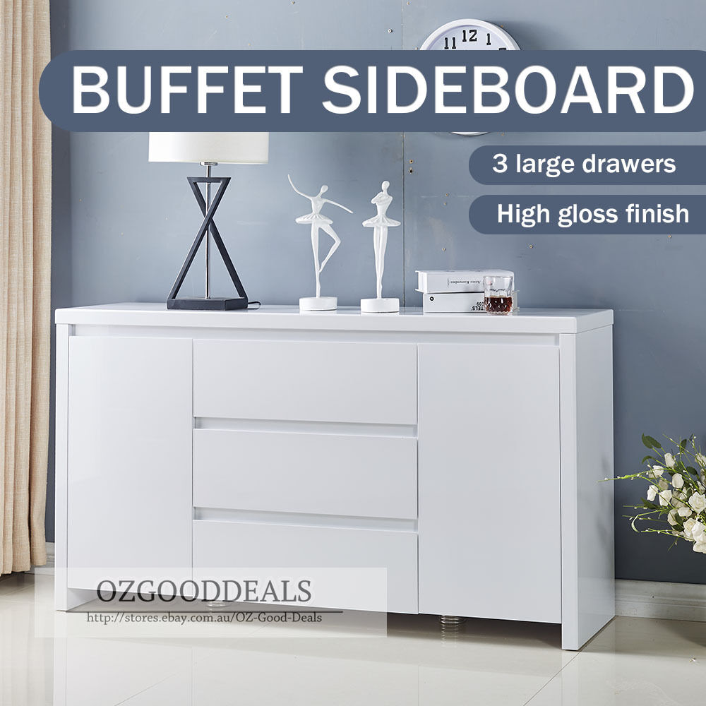 TINA Designer Buffet Sideboard Cabinet Gloss White Finish