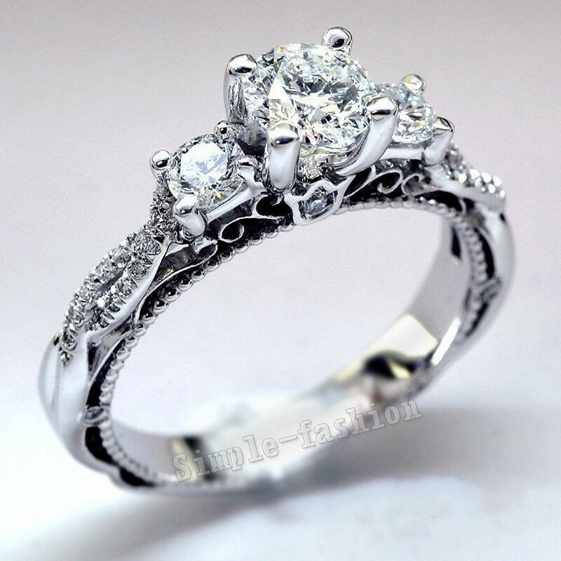 Vintage jewelry women white sapphire cz 925 silver for Cz wedding rings for women