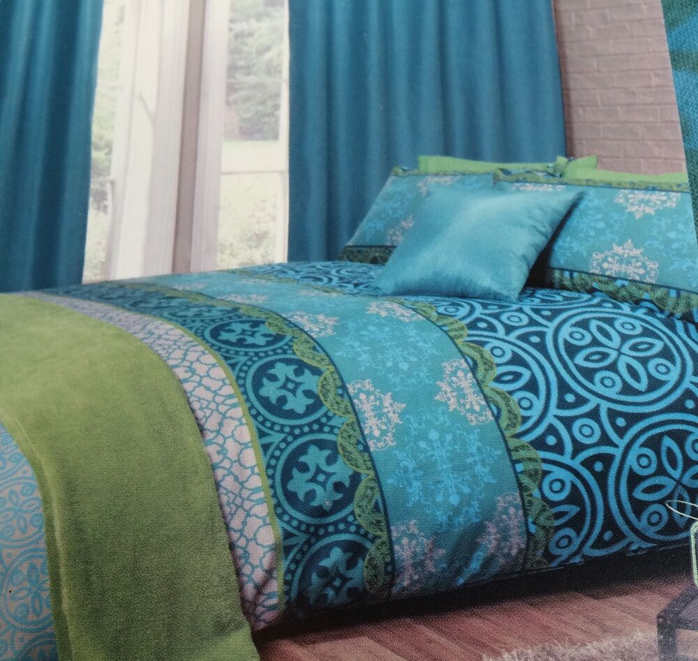 Moroccan Jewel Colours Aqua Green Turquoise Blue King