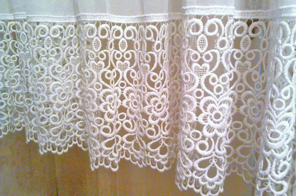 Top Quality Voile Curtain Panel With Macrame Lace Border Ebay