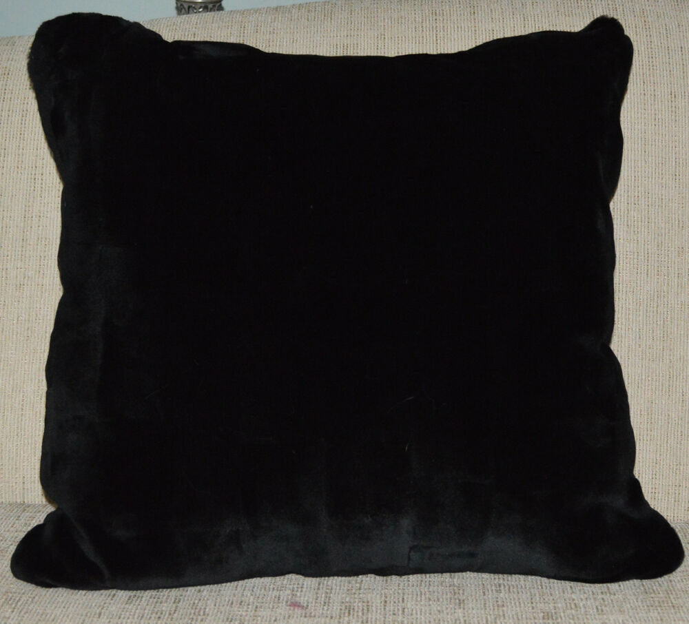 Real Mink Fur Pillow Black Sheared Sections Made In Usa