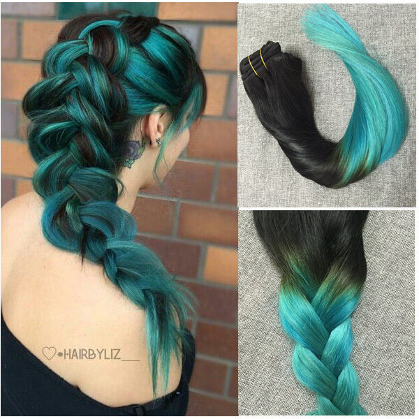 Clip In Remy Human Hair Extensions 22 Quot Teal Black Ombre
