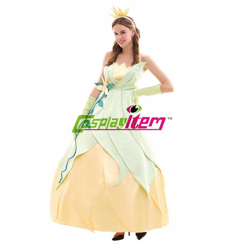 Princess Tiana Dress: Princess Tiana Dress Cosplay Costume Adult The Princess