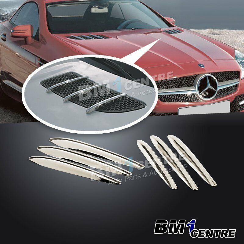 6pcs luxury chrome hood air vent moulding trim for for Mercedes benz chrome accessories