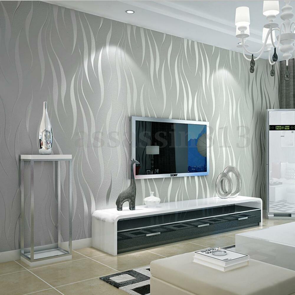 10m Silver 3D Non-woven Wave Stripe Embossed Wallpaper