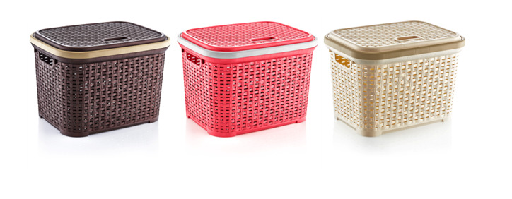 Plastic Rattan Laundry Storage Basket Hamper Kitchen Container Bin Box With Lid Ebay