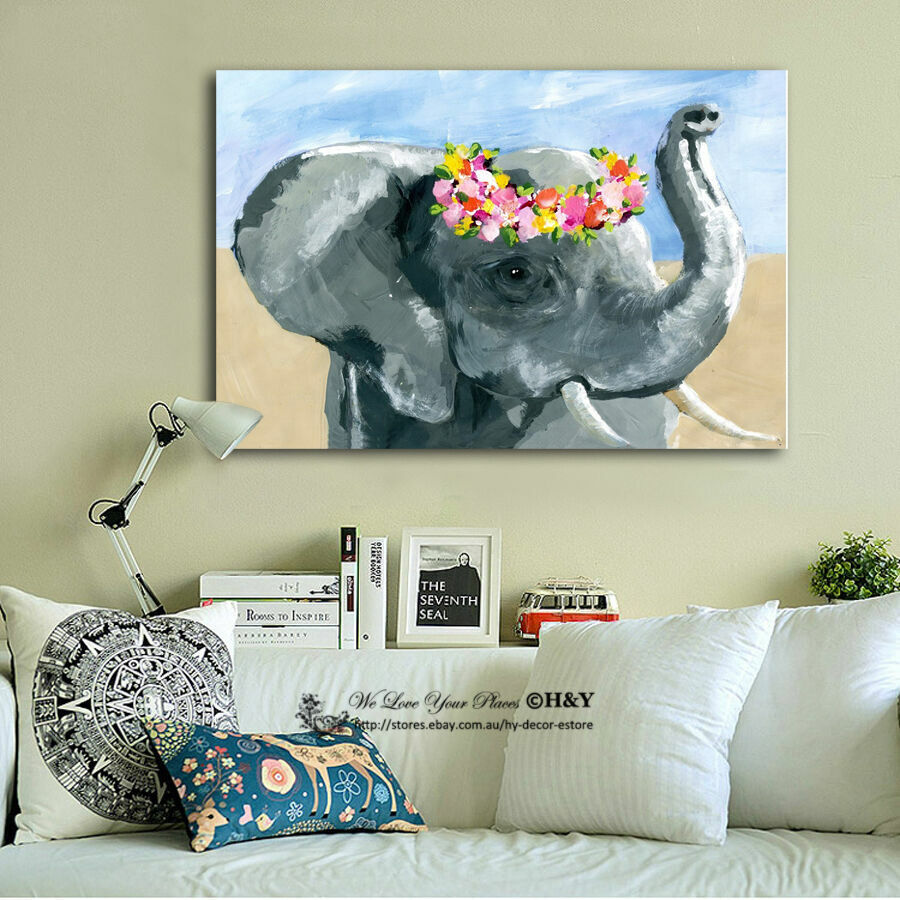 Animal Home Decor: Elephant Stretched Canvas Print Framed Wall Art Home Kids