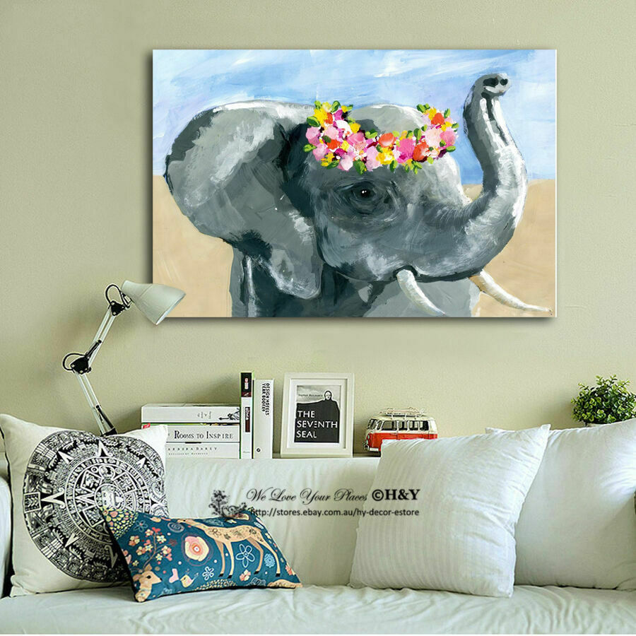 Elephant Stretched Canvas Print Framed Wall Art Home Kids