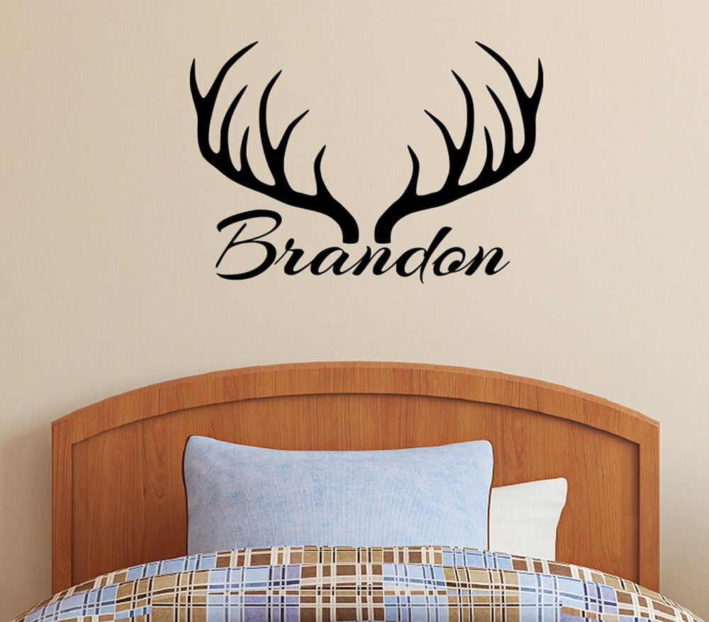 personalized name deer antlers rack vinyl wall decal. Black Bedroom Furniture Sets. Home Design Ideas