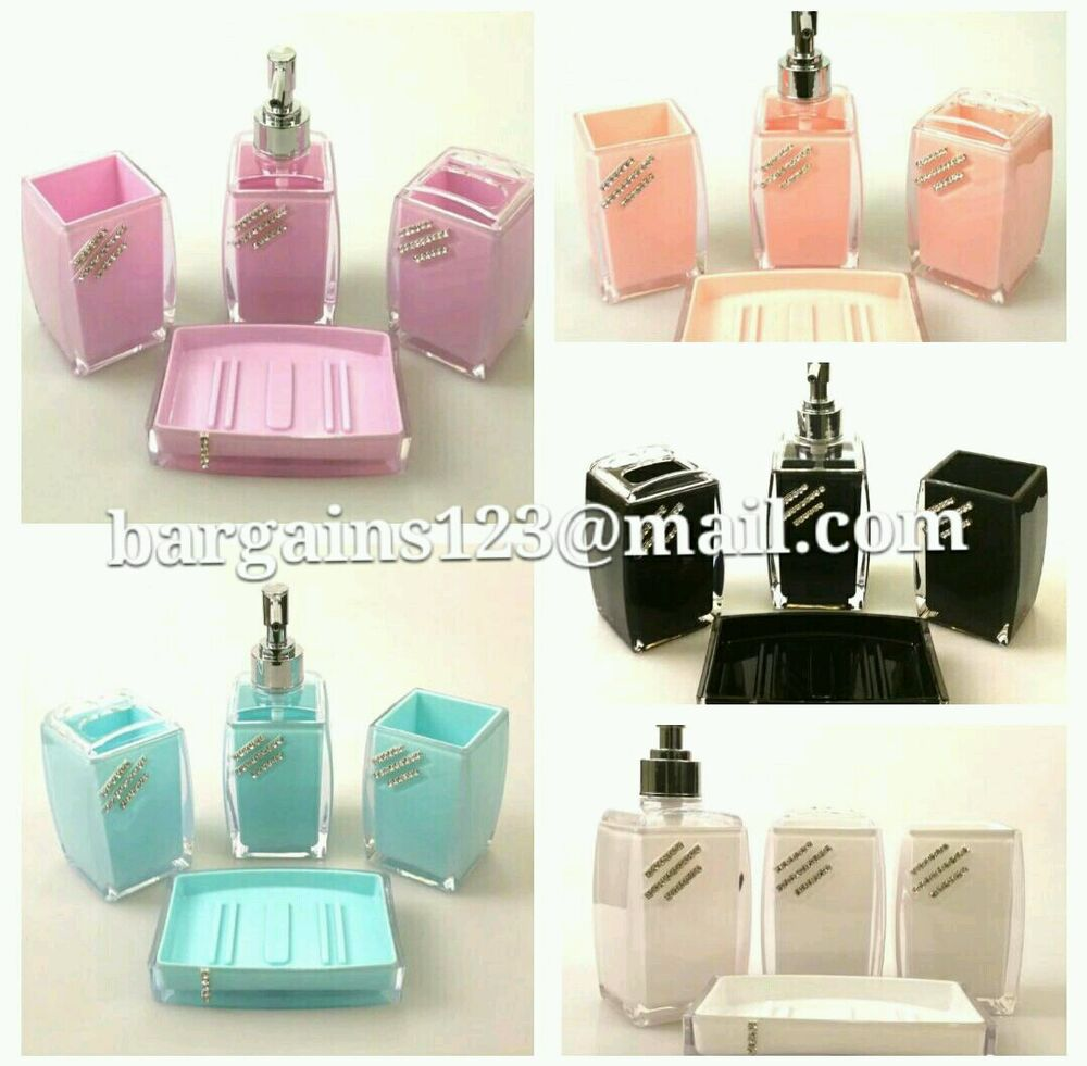 Acrylic bathroom accessories 4 pcs set ebay for Bathroom accessories acrylic