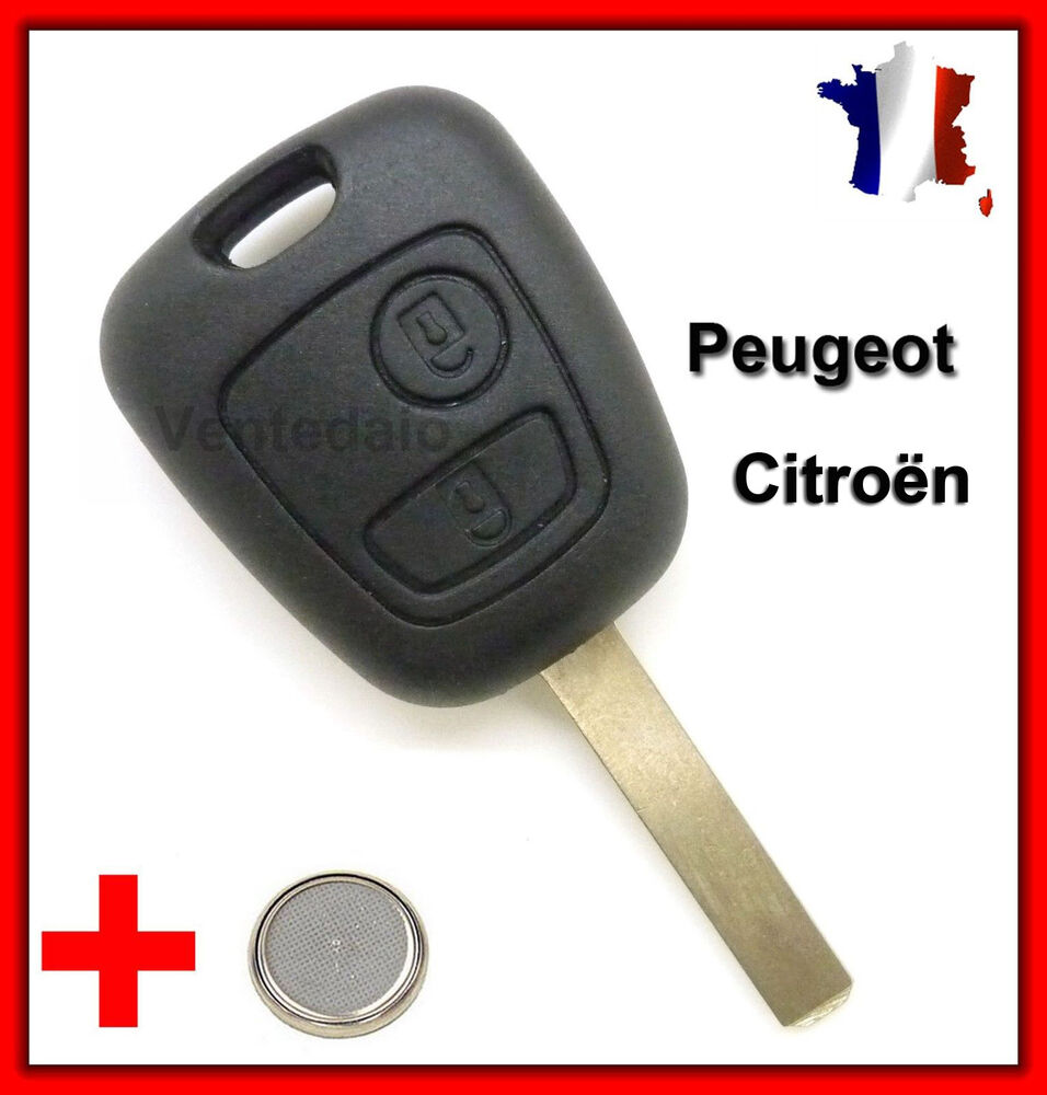 coque clef plip bouton cl 2 boutons peugeot cl 107 207 307 citro n c1 c2 c3 ebay. Black Bedroom Furniture Sets. Home Design Ideas
