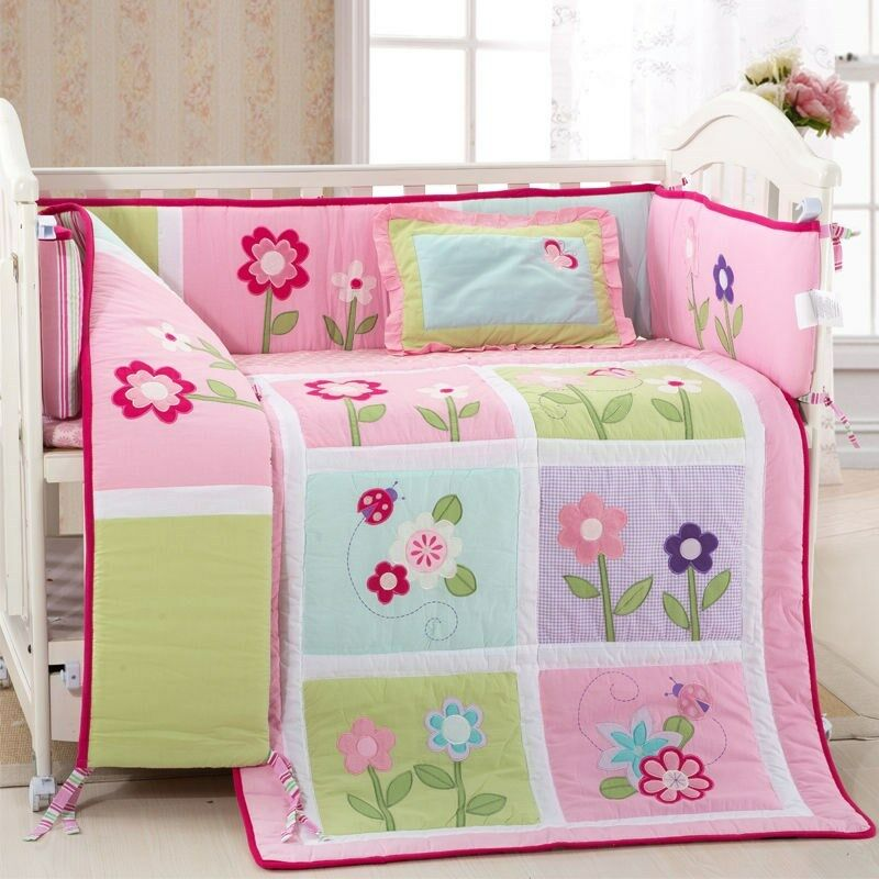 nursery bedroom sets bedding flowers crib baby bedding 4 pc set ebay 12721