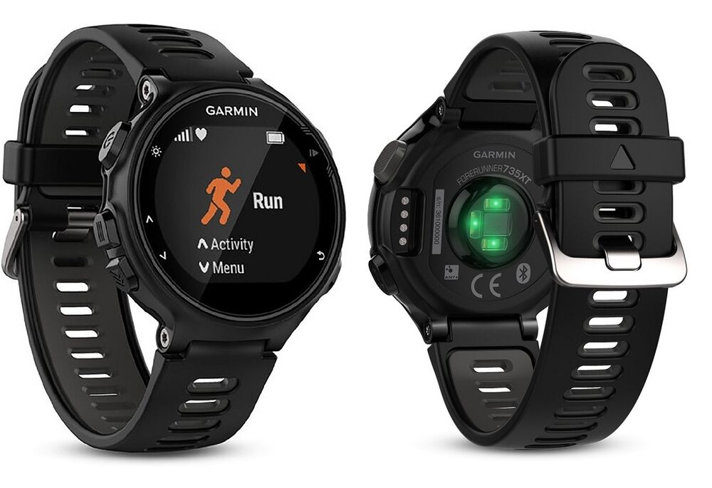 garmin forerunner 735xt running fitness gps watch wrist heart rate hr black ebay. Black Bedroom Furniture Sets. Home Design Ideas
