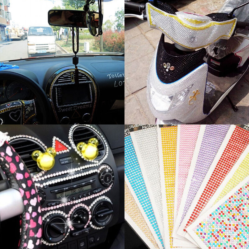 Round Self Adhesive Rhinestone Crystal Bling Stickers Iphone Auto Car Decoration Ebay
