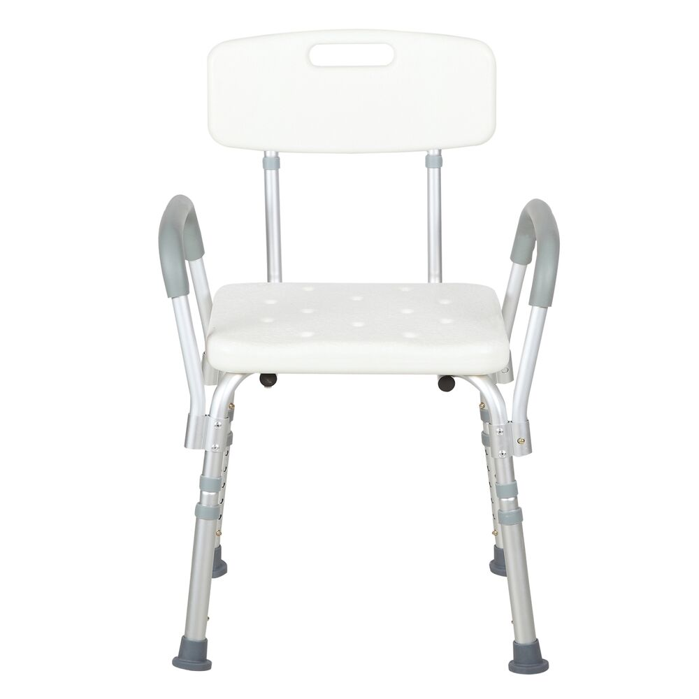 Adjustable Medical Shower Bath Chair Bench Stool Seat W Detachable Back And Arms Ebay