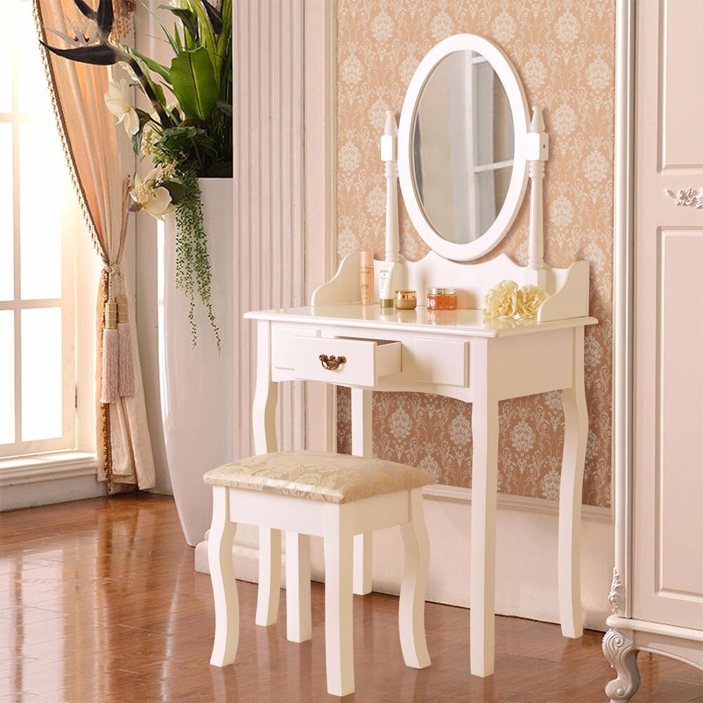 White Vanity Makeup Dressing Table Set W Stool Drawer