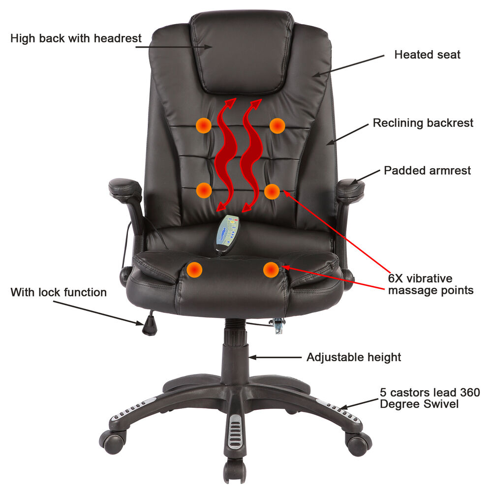 Heated Vibrating Executive Office Massage Chair Ergonomic