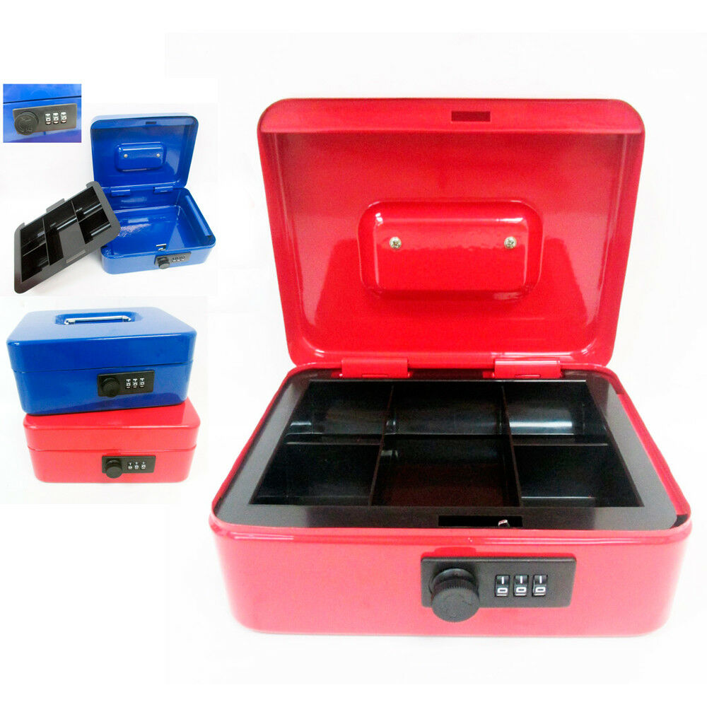 Cash combination lock box 8 coins money tray security for Money storage box
