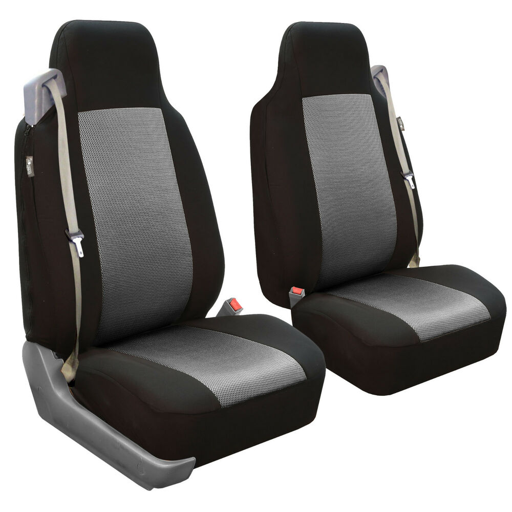 Seat Covers Front Pair For Built In Seat Belt Seats Gray
